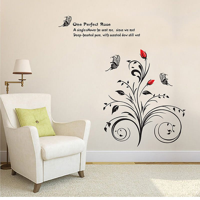 Black Flower Wall Decals