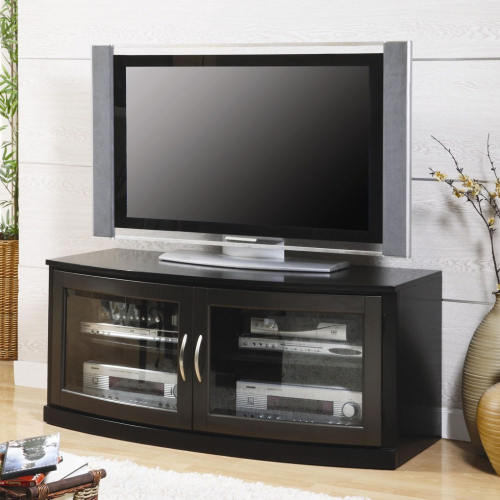 Black Tv Stands With Glass Doors