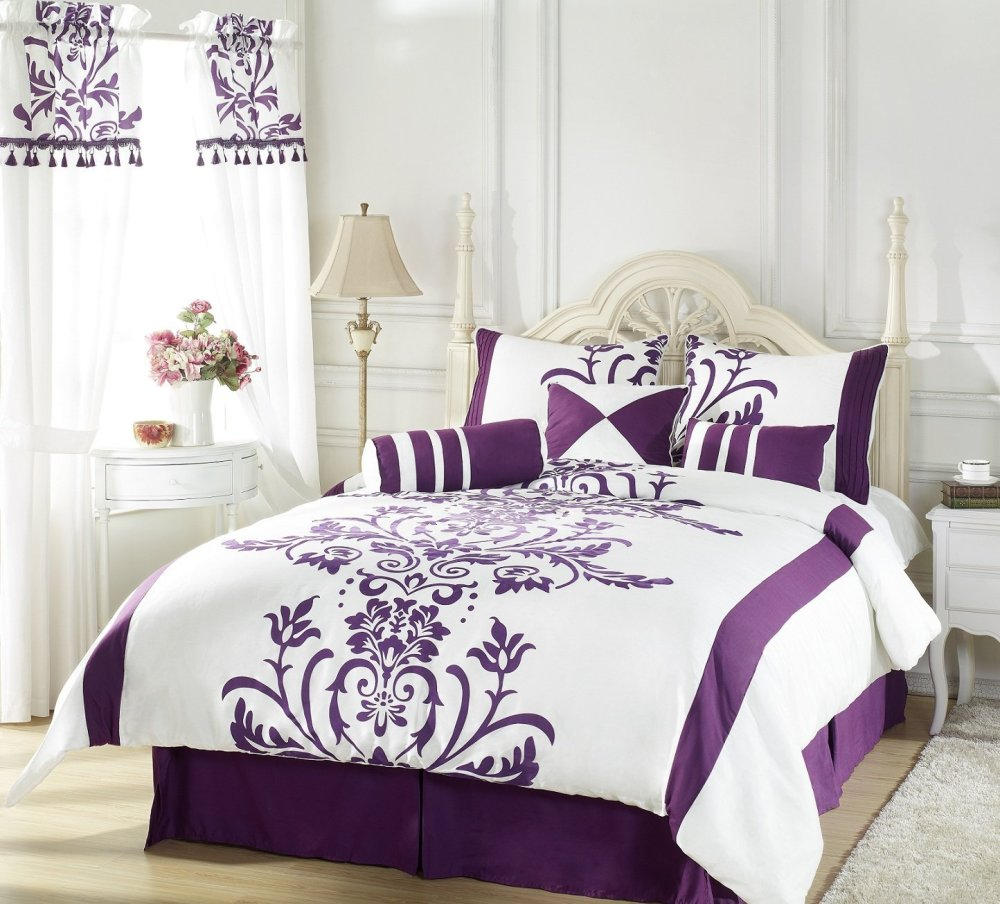 Black White And Purple Comforter Set