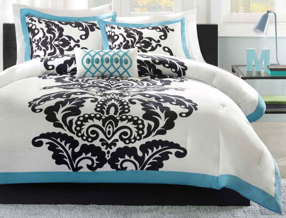 Black White And Teal Comforter Set