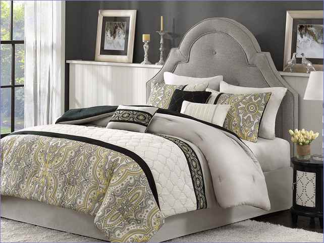 Black White And Yellow Comforter Set