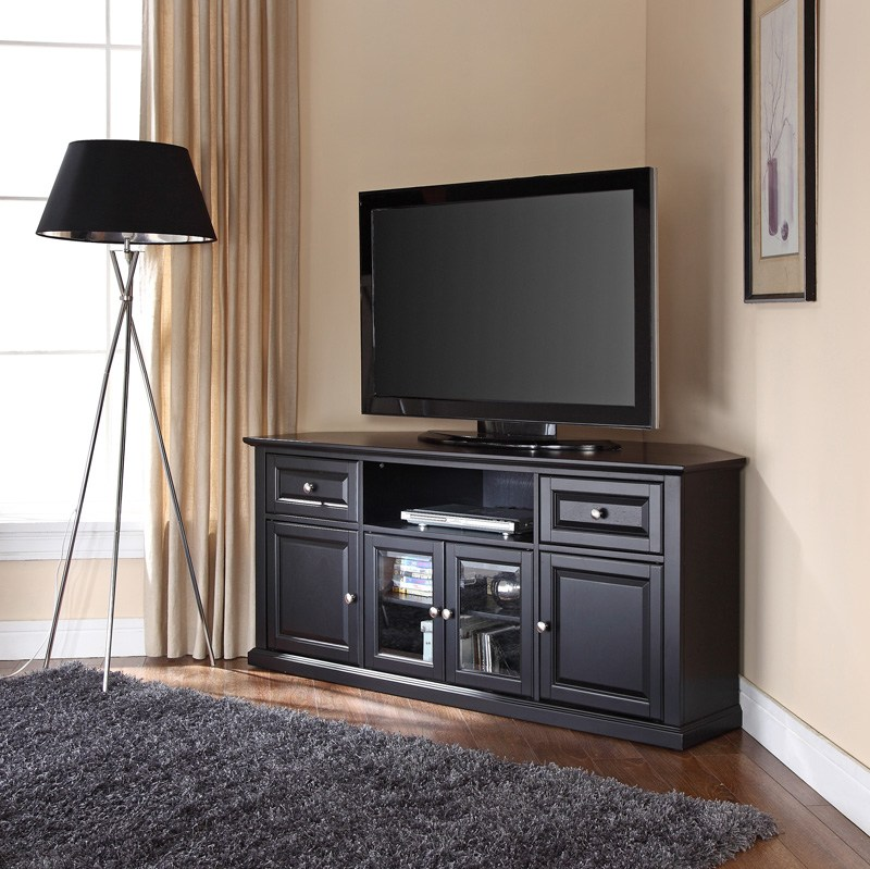 Black Wood Corner Tv Stand