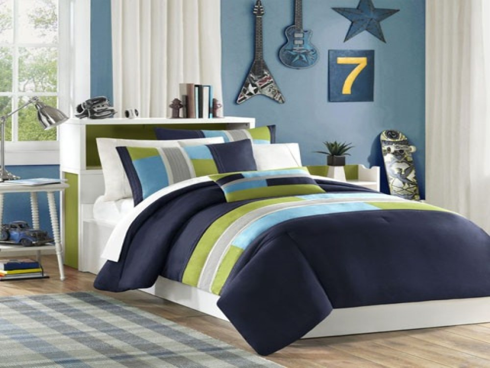 Blue And Beige Comforter Set