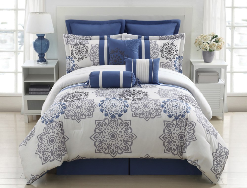 Blue And Gray Comforter Sets Queen