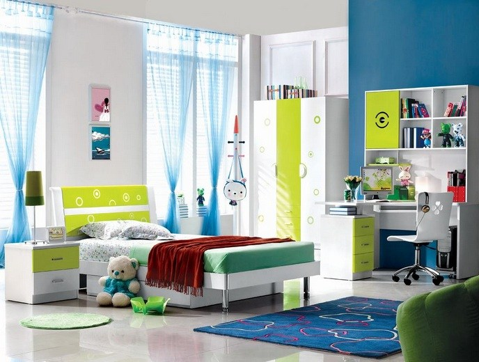 Blue And Pink Kids Bedroom