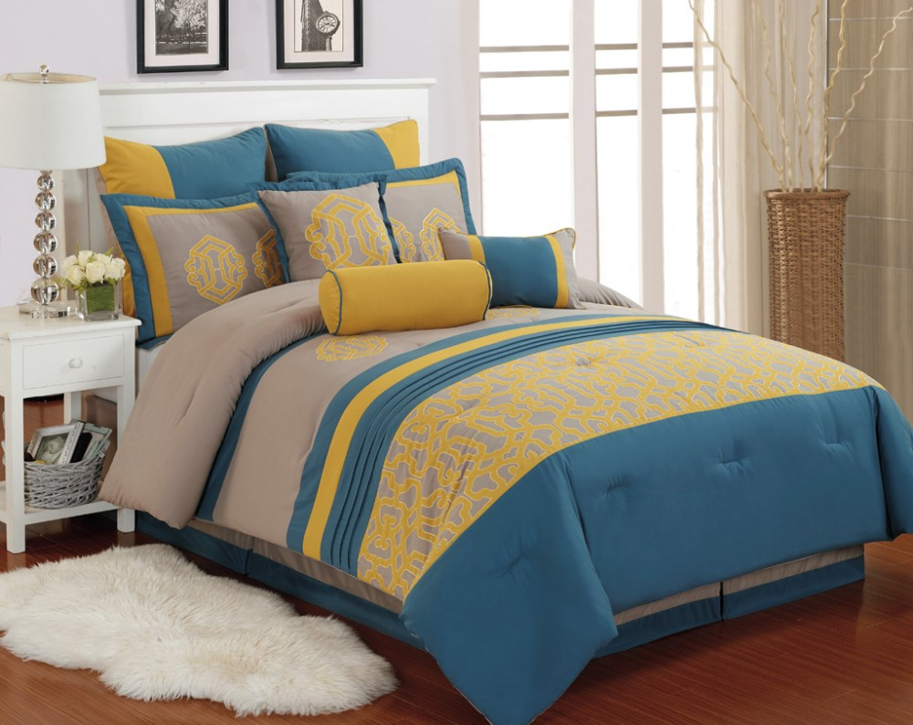 Blue And Yellow Comforter Sets Queen