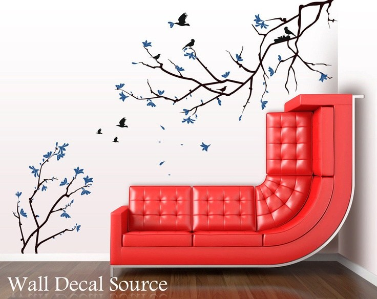 Blue Cherry Blossom Wall Decal