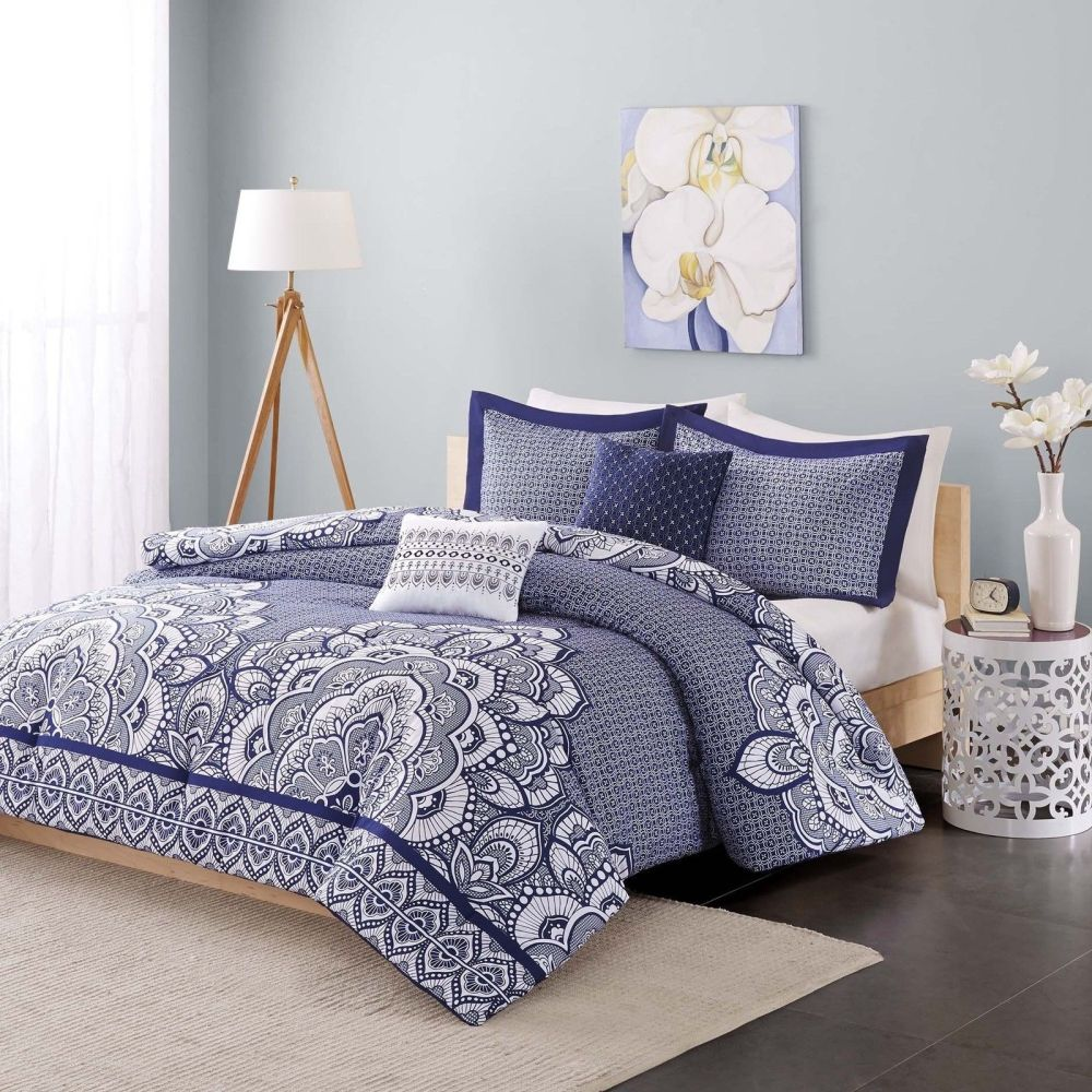Blue Medallion Comforter Set