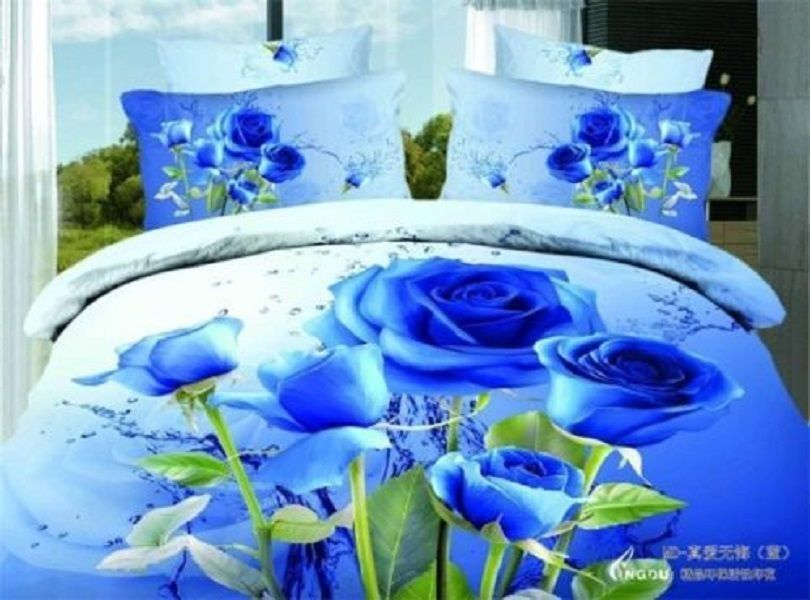 Blue Rose Comforter Set