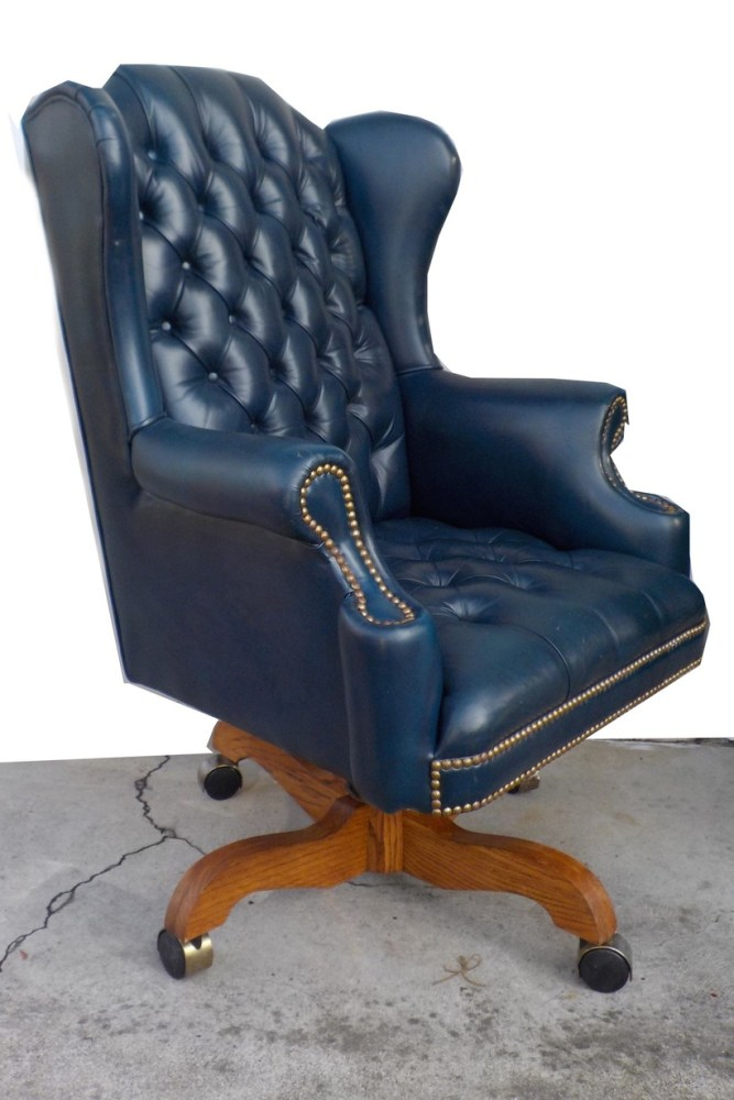 Blue Tufted Office Chair