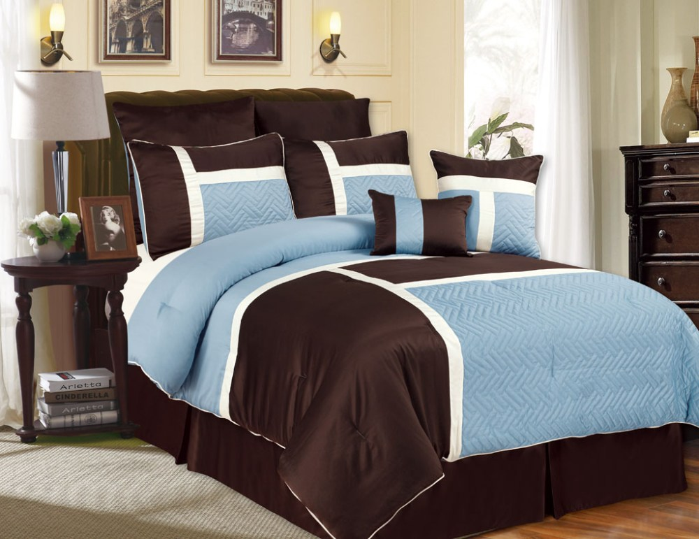 Brown And Blue Comforter Sets King