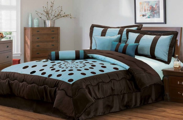Brown And Blue Comforter Sets Queen