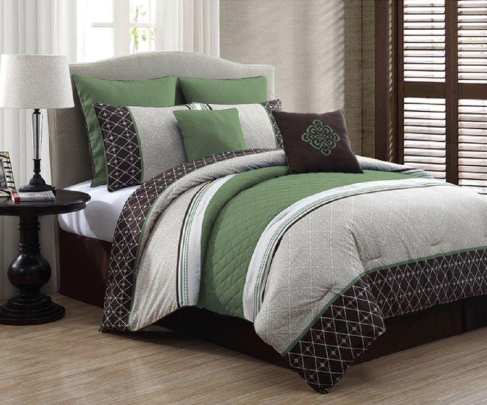 Brown And Green Comforter Set King