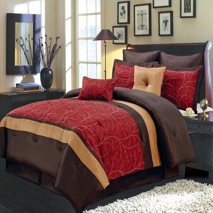 Brown And Red Comforter Set