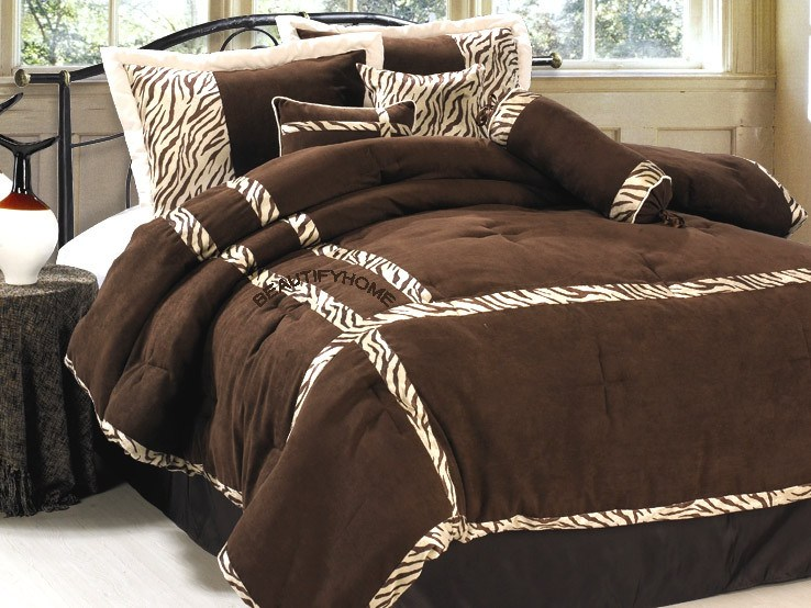 Brown Zebra Comforter Set