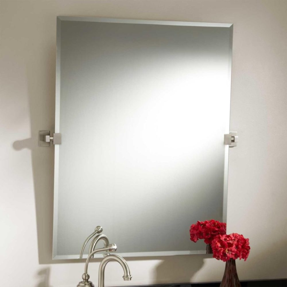 Brushed Nickel Bathroom Mirror Rectangular