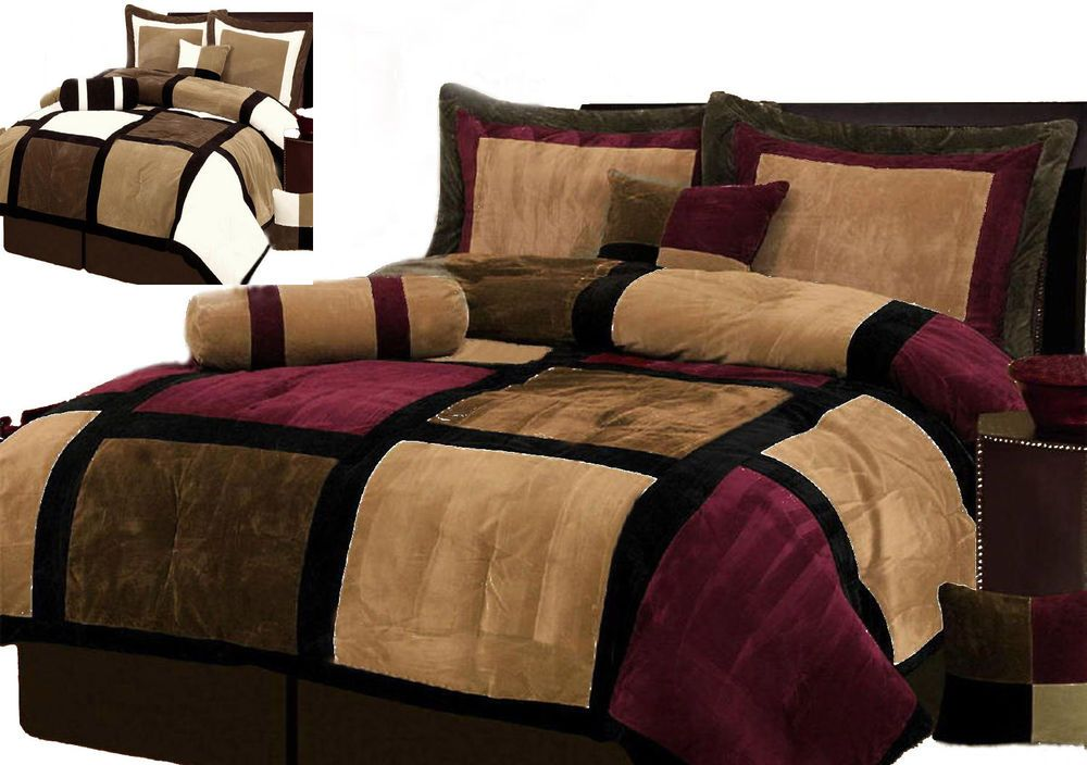 Burgundy And Brown Comforter Set