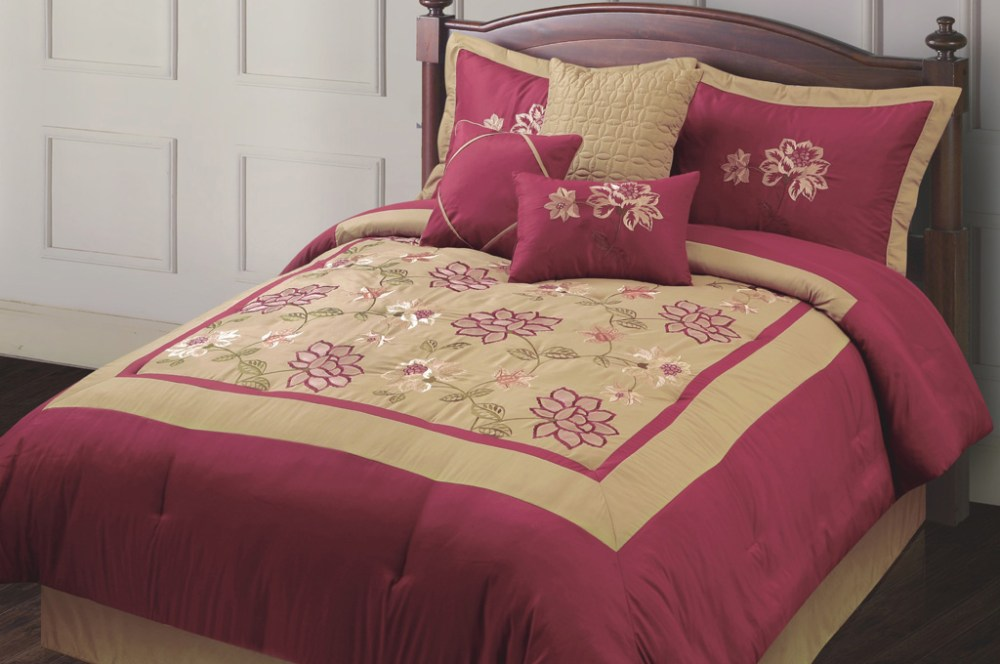 Burgundy And Gold Comforter Set