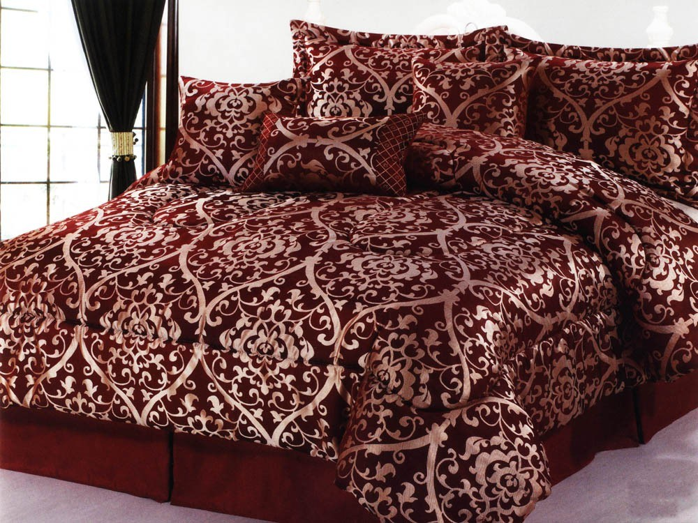 Burgundy And Gold King Comforter Sets