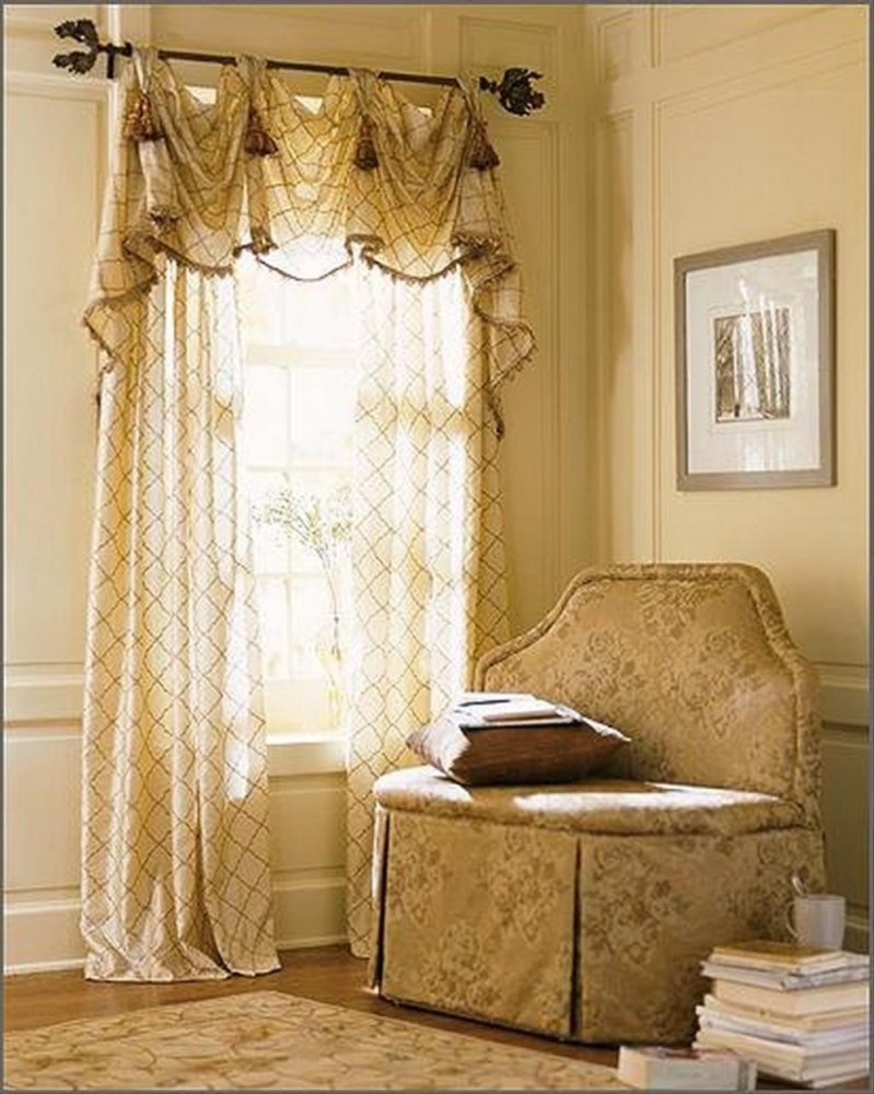 Burgundy Curtains With Valance