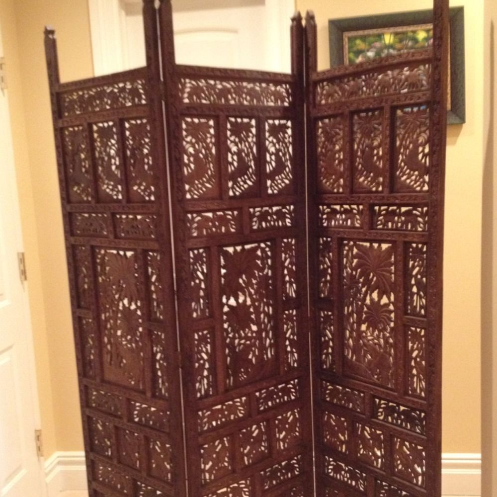 Carved Wood Screen Room Divider