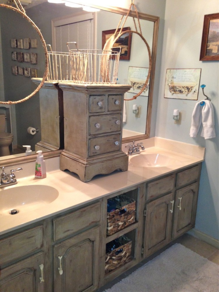 Chalk Painted Bathroom Cabinets