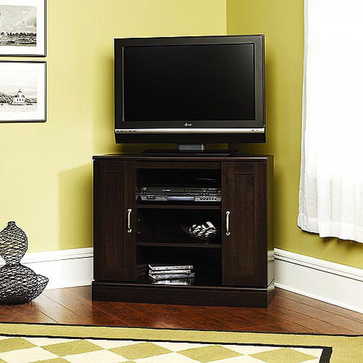 Cherry Corner Tv Stand With Storage For Tvs Up To 37