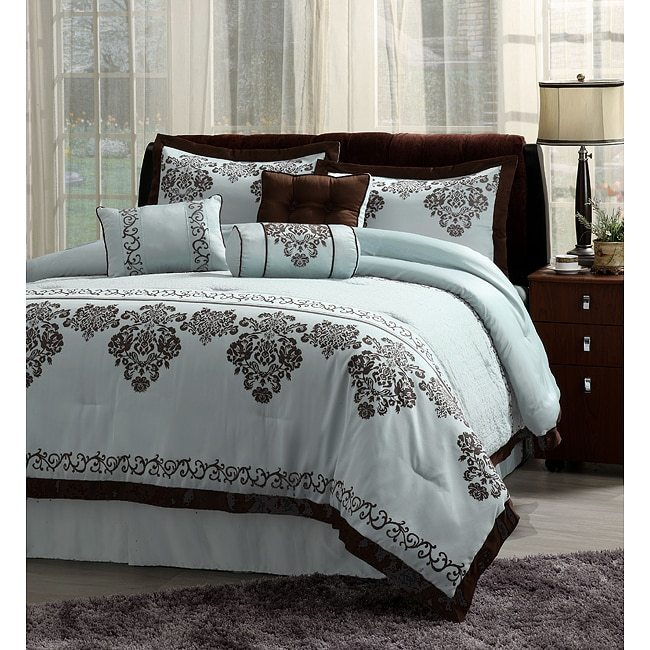 Chocolate And Blue Comforter Sets