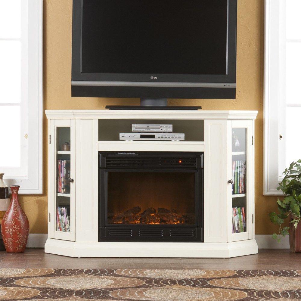 Corner Electric Fireplace Tv Stand White