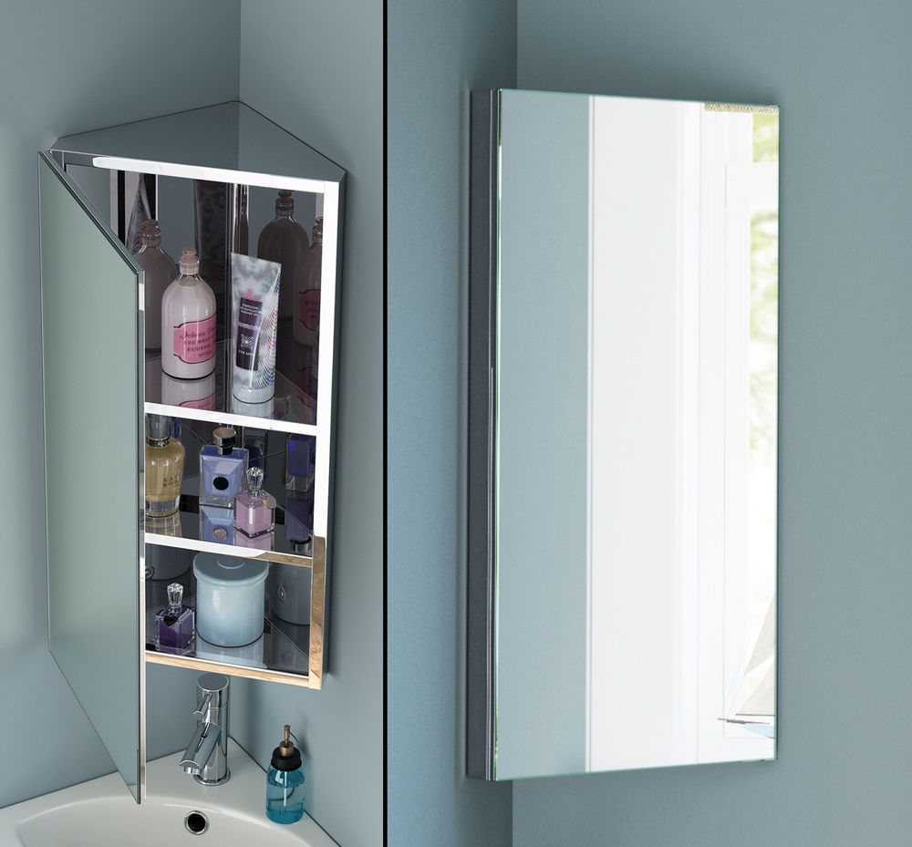 Corner Mirror Bathroom Wall Cabinet