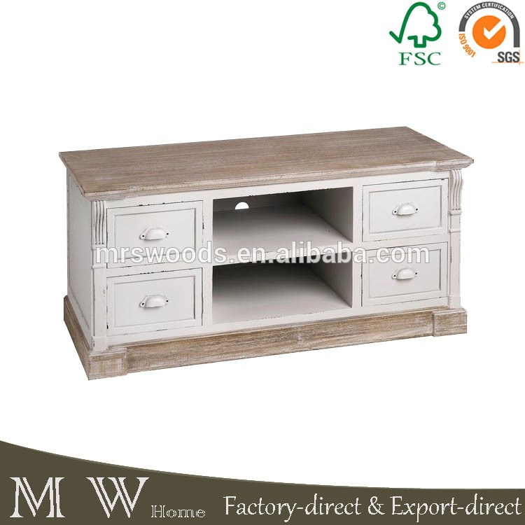 Cream And Wood Tv Stand