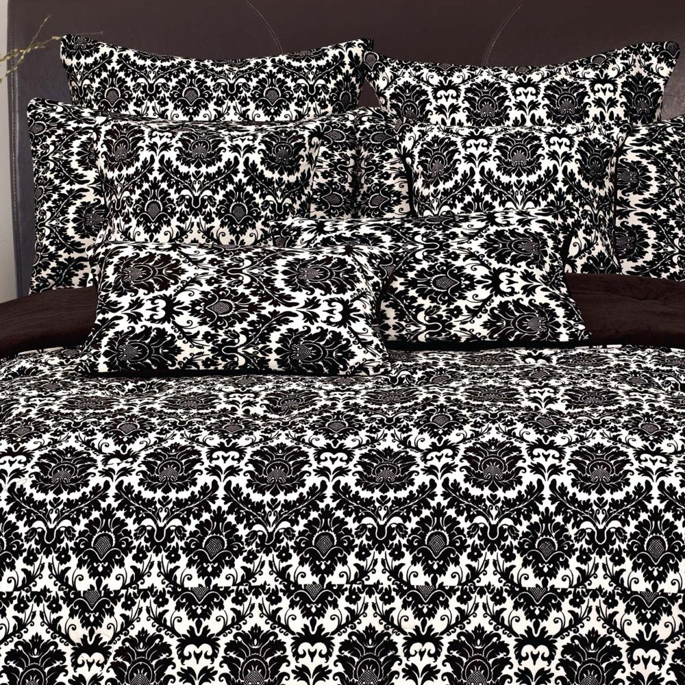 Damask Comforter Set Black And White