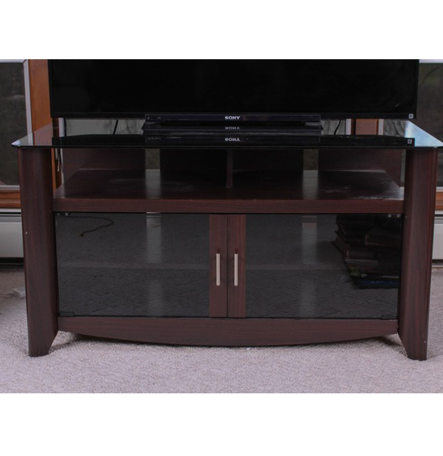 Dark Wood And Glass Tv Stand