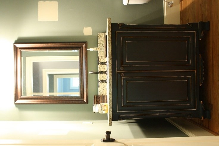 Distressed Black Bathroom Cabinets