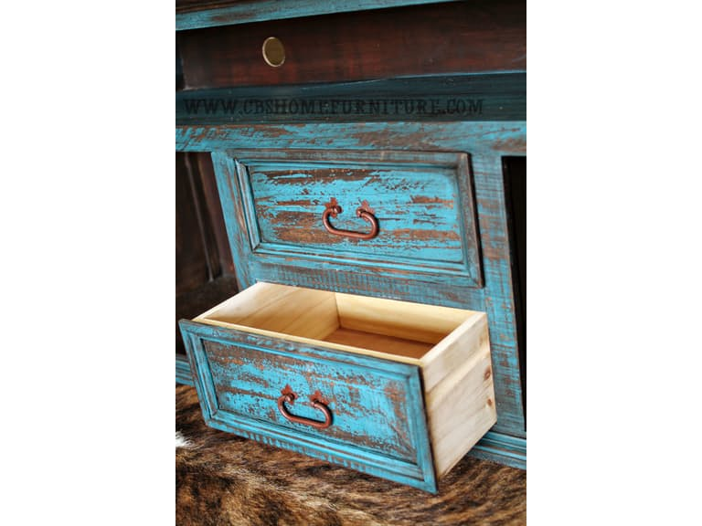 Distressed Turquoise Tv Stand