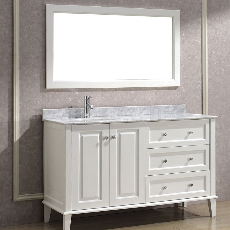 Distressed White Bathroom Cabinets