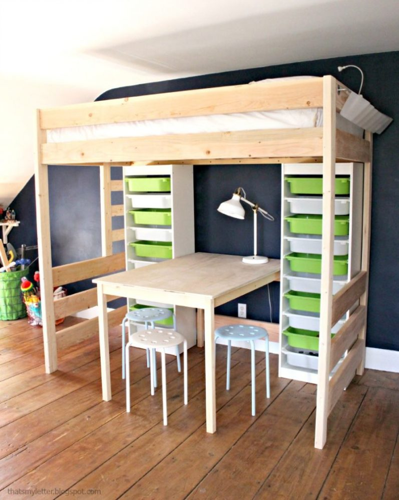 Diy Kids Loft Bed With Desk