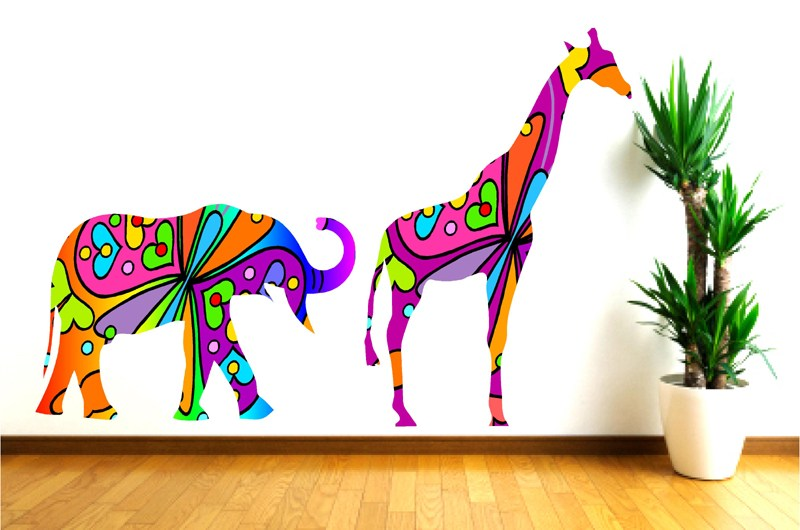 Elephant And Giraffe Wall Decals