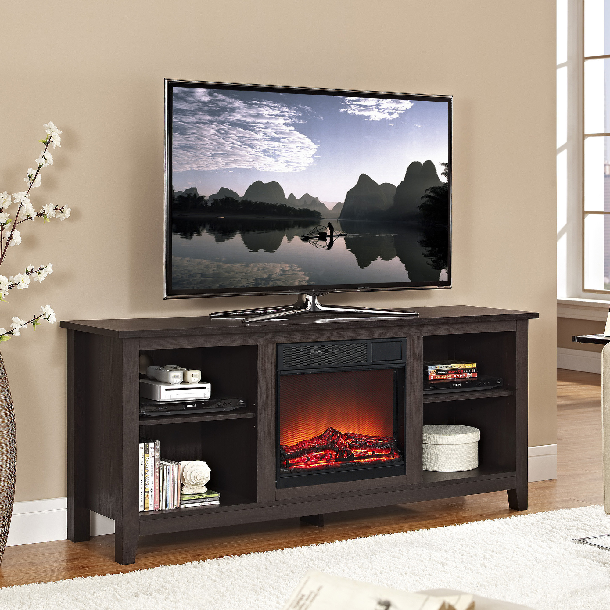 Espresso Tv Stand With Fireplace