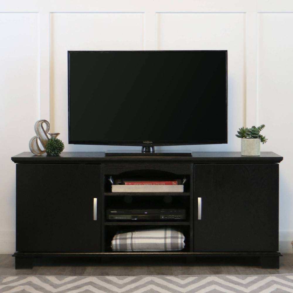 Espresso Wood Tv Stand For Tvs Up To 60