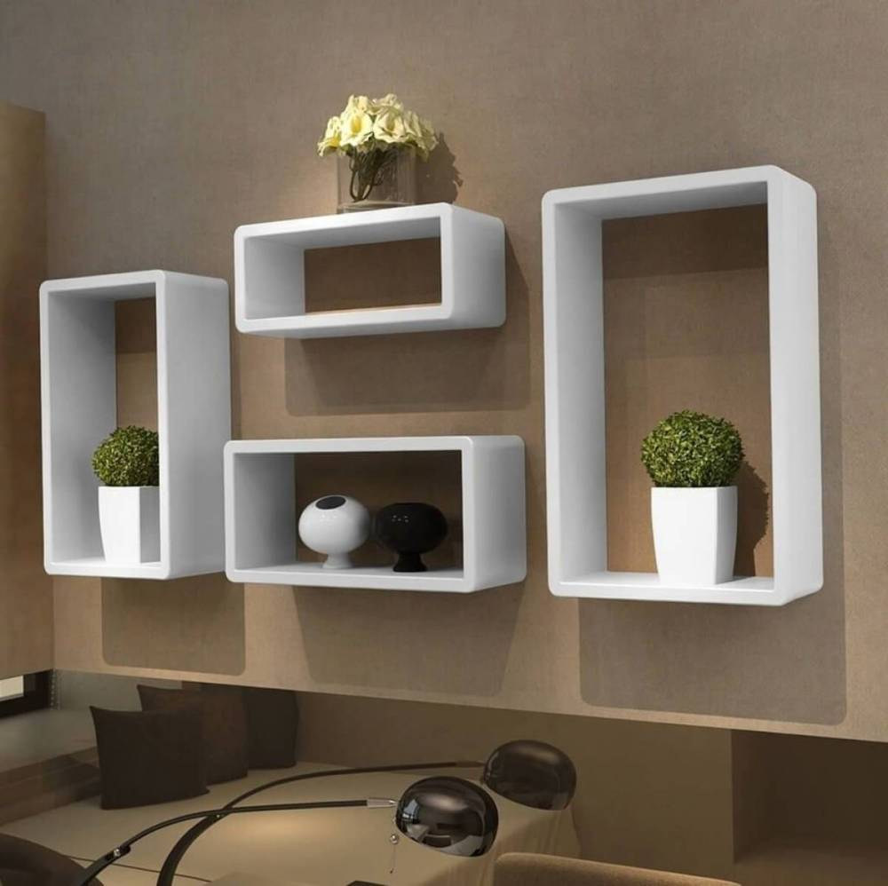 Floating Box Shelves White