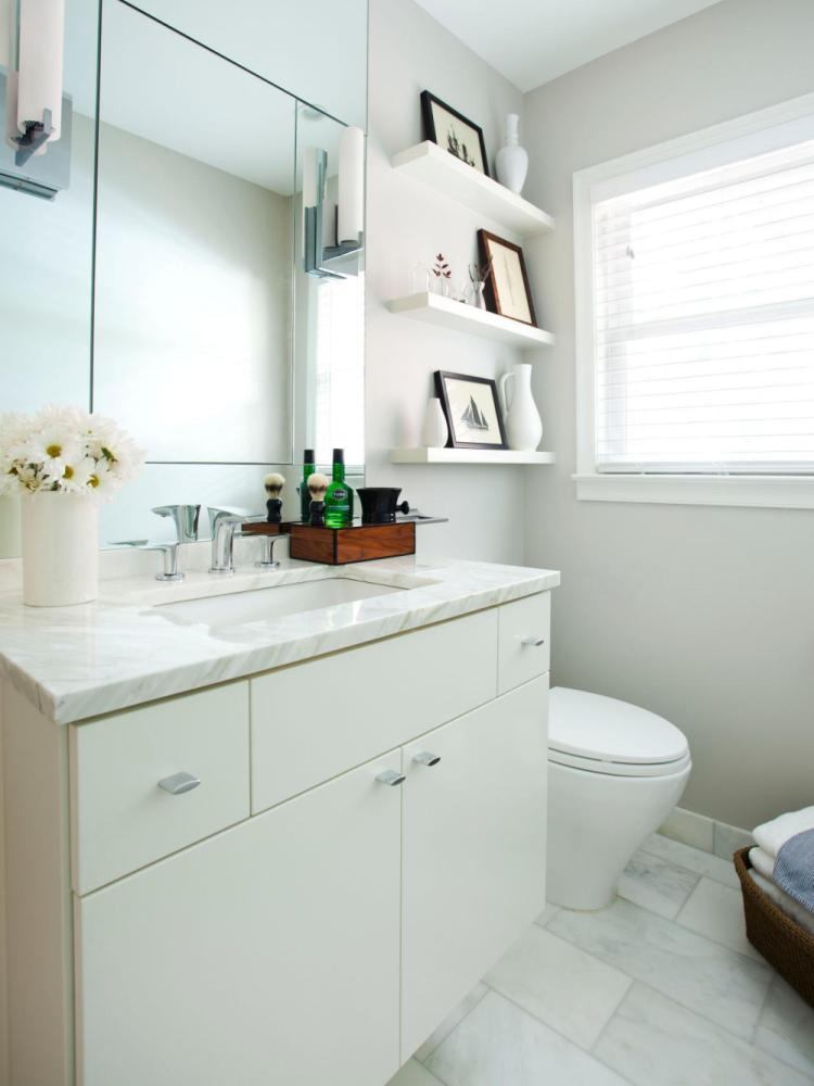 Floating Shelves White Bathroom