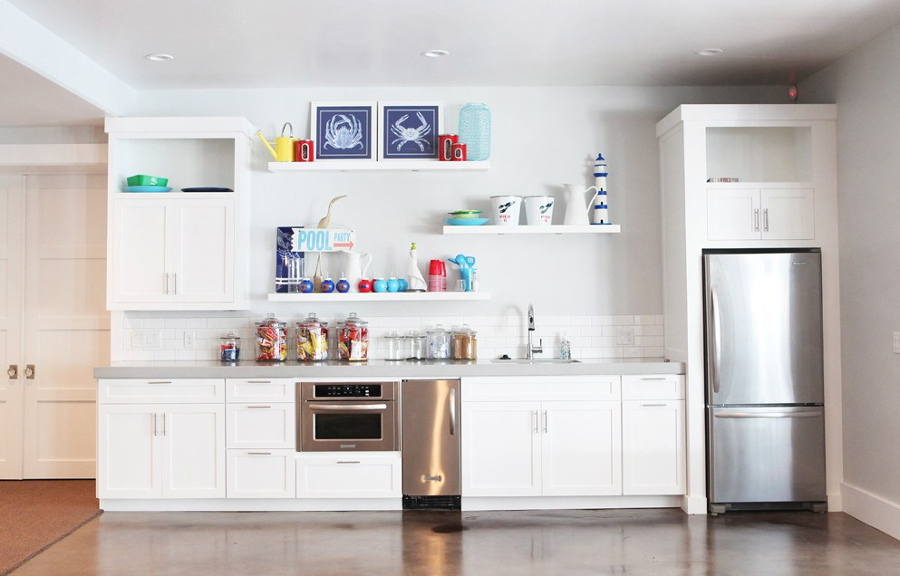 Floating White Shelves Kitchen