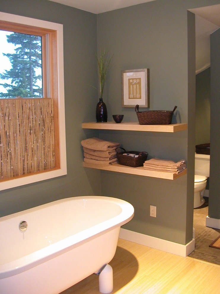 Floating Wood Shelves Bathroom