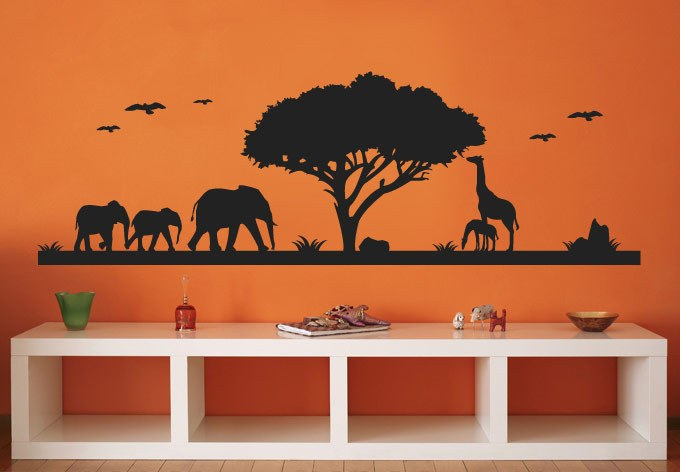 Giraffe And Elephant Wall Decals