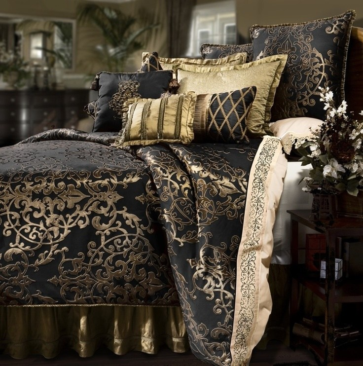 Gold And Black Comforter Set