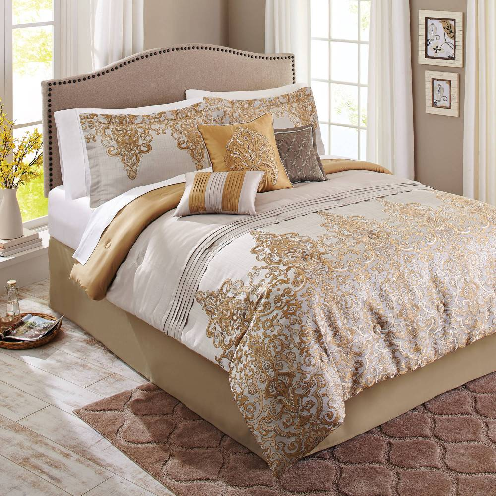 Gold Damask Comforter Set