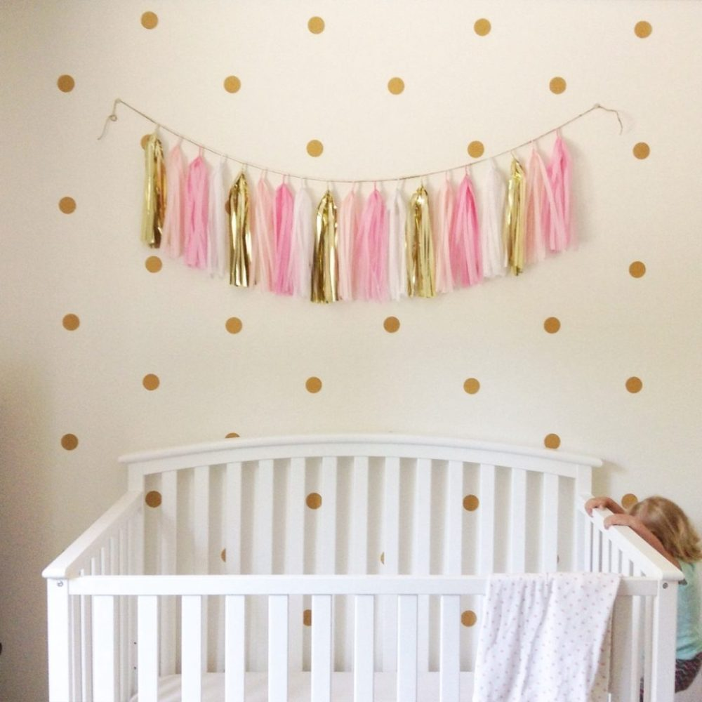 Gold Glitter Polka Dot Wall Decals