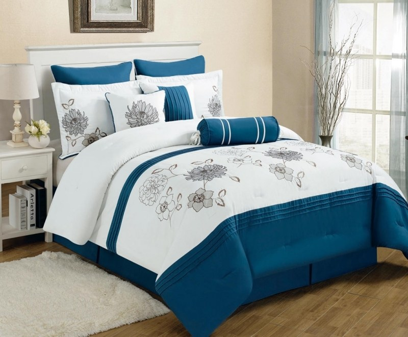 Gray And Blue Comforter Set