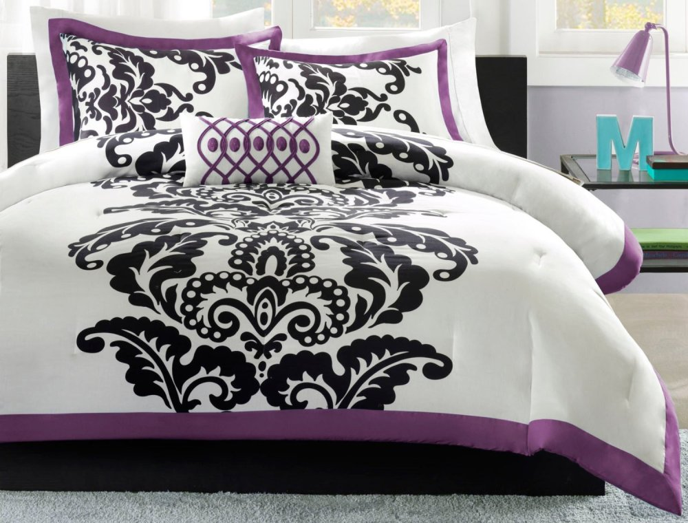 Gray And Purple Comforter Sets